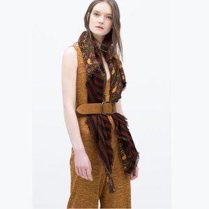 ZARA Paisley and Stripes Double Layer Scarf